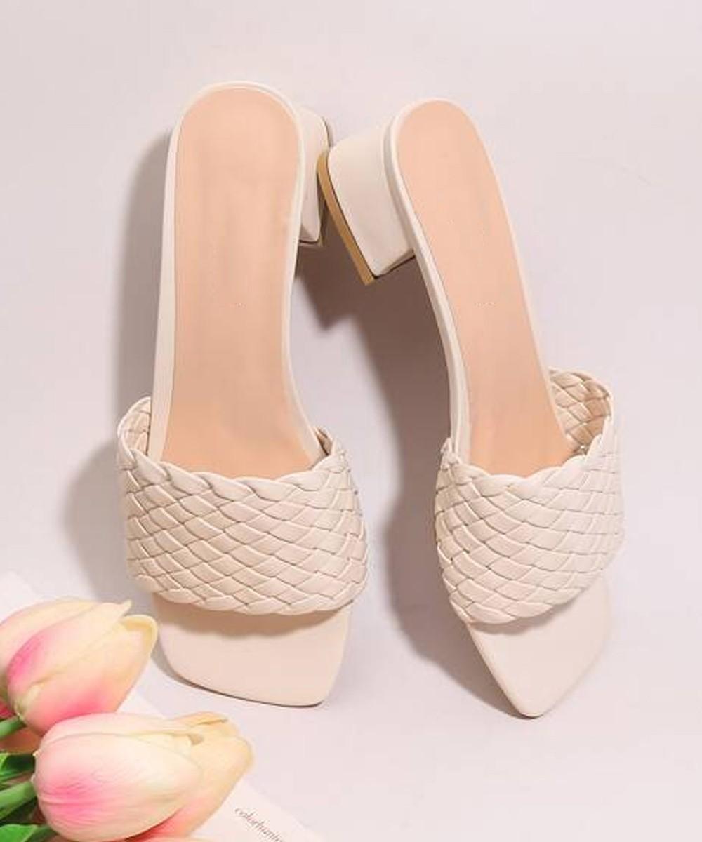 From across the road block beige heels