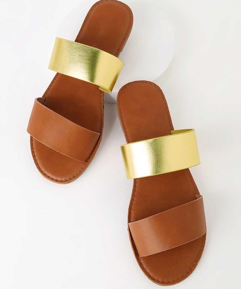 Comfy dual strap brown flat