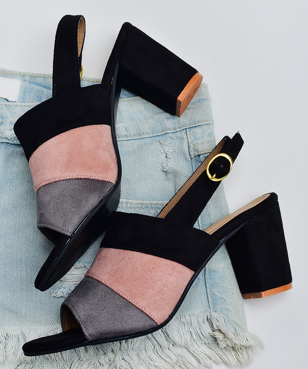 Color block black heels