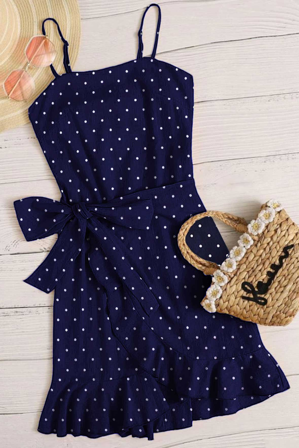 Gilmore girls blue polka dot wrap dress