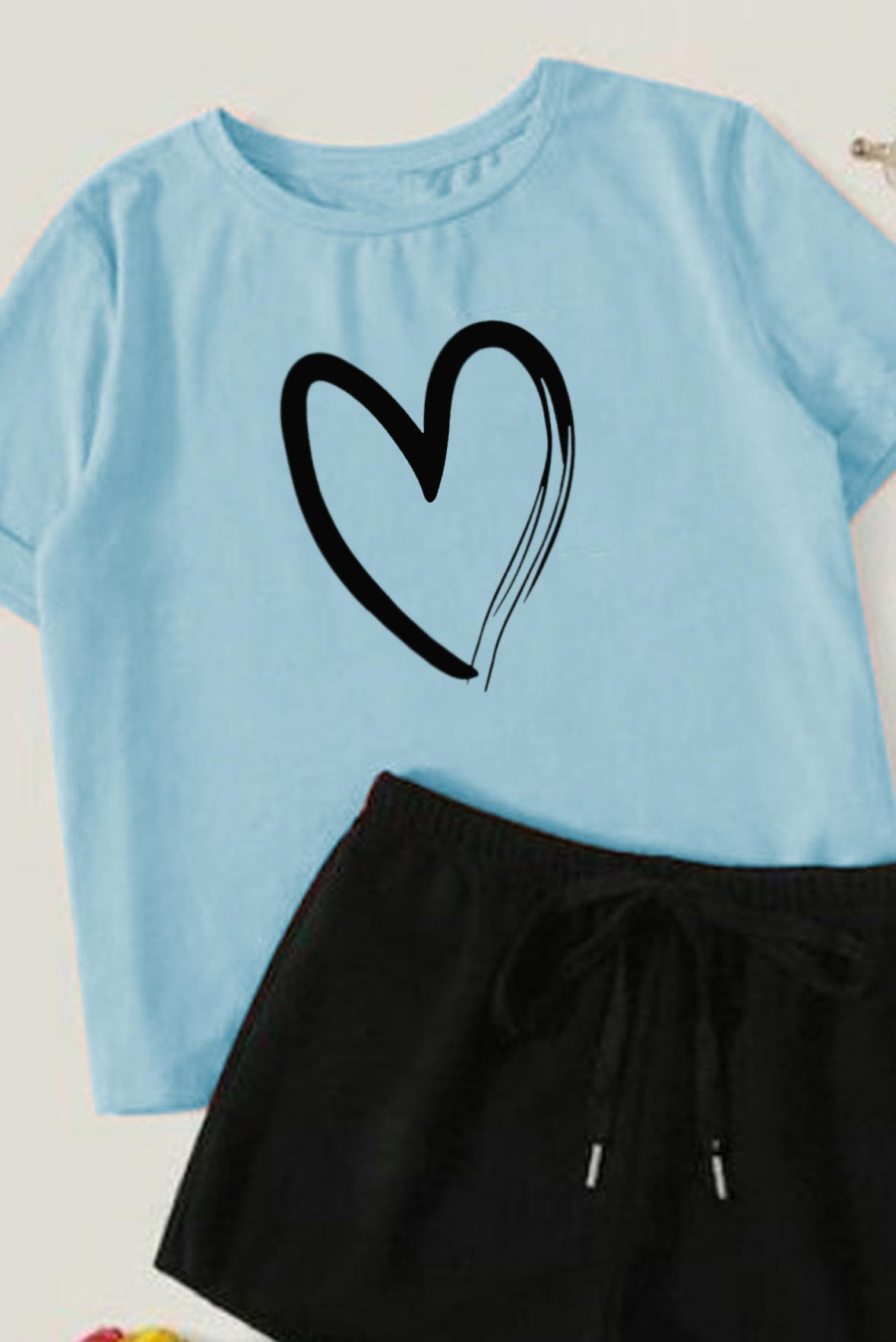 Heart printed blue tee