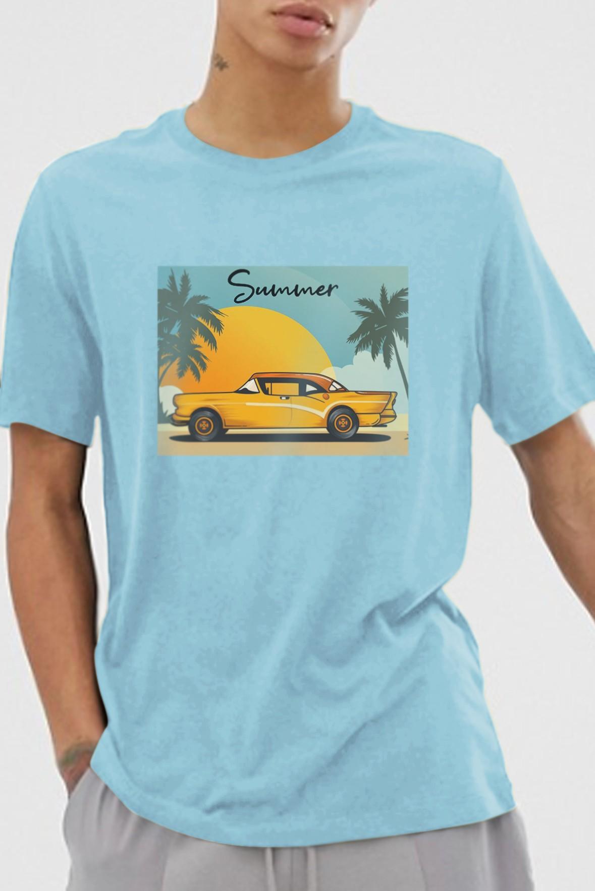Summer printed t-shirt blue