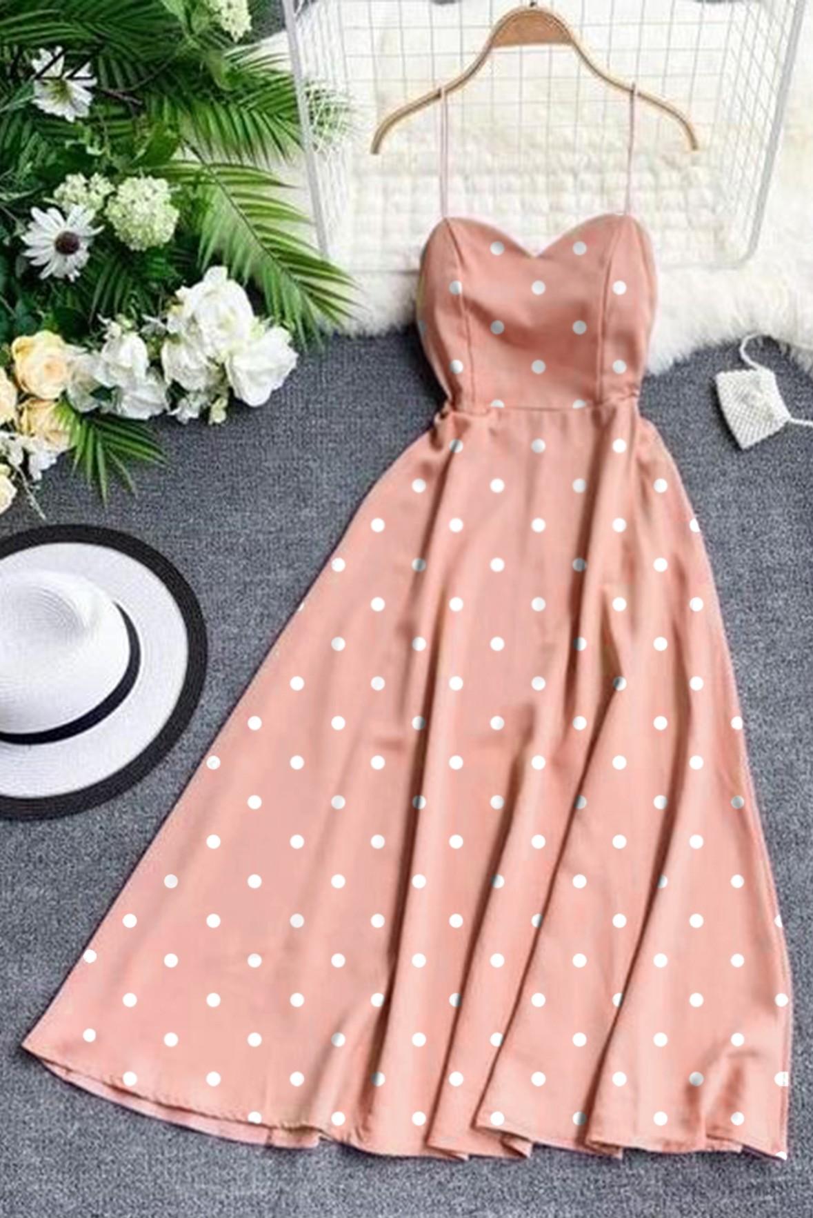 Cute Polka Dot Long Dress