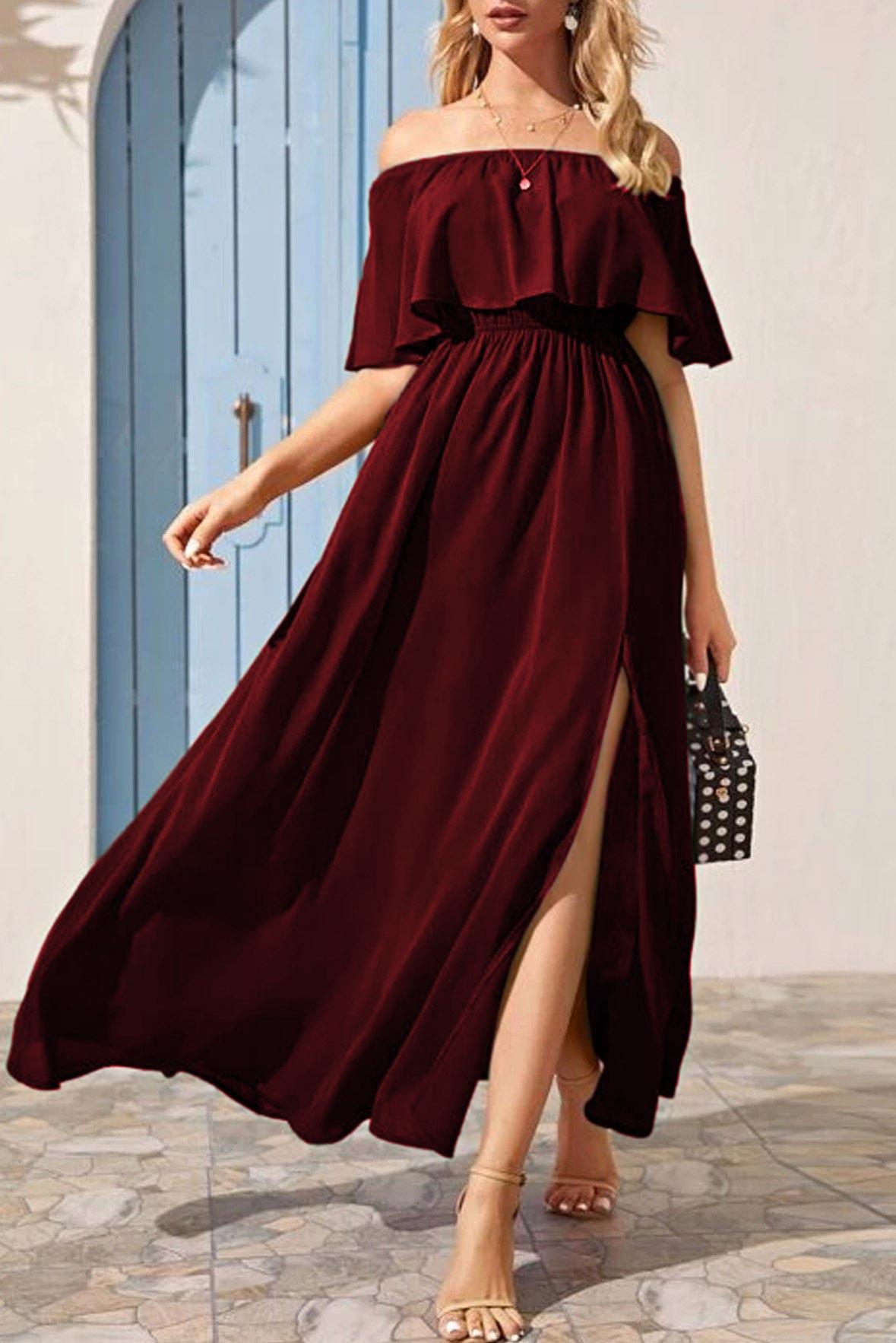 Go with the flow slit dress marsala