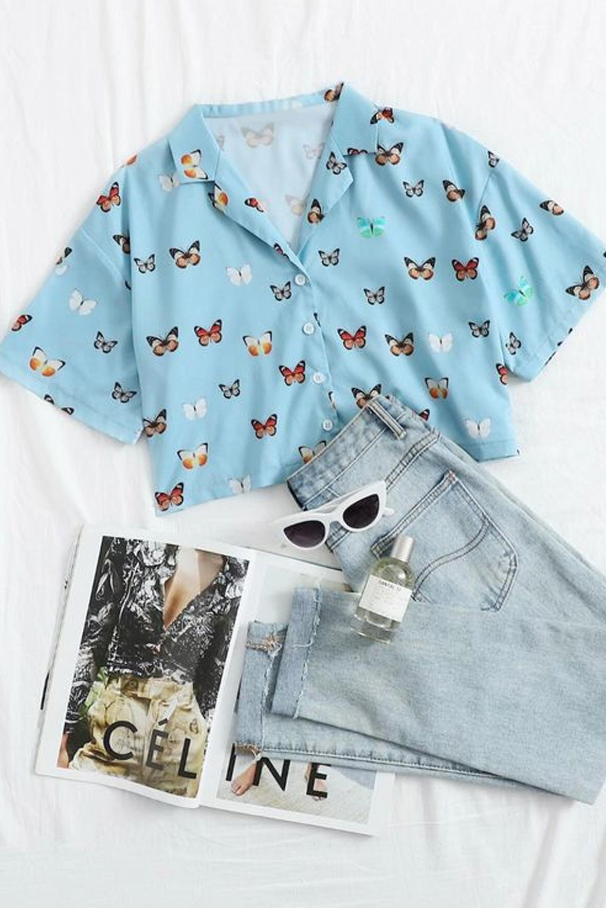 Digitally Printed Happy Go Lucky Shirt Style Crop Top