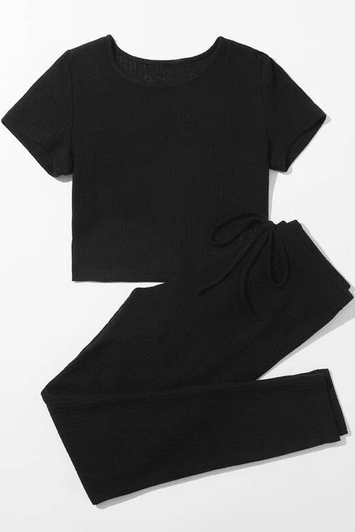 Set of two :- solid rib knit tee & tie waist trouser