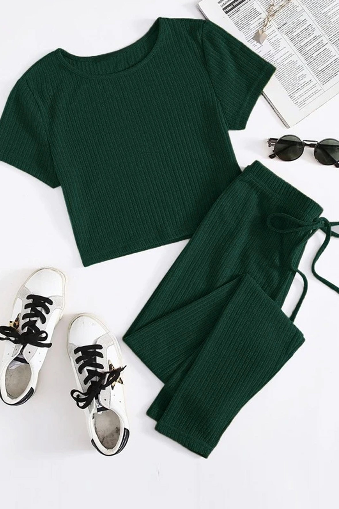 Set of two :- solid rib knit tee & tie waist trouser dark Green