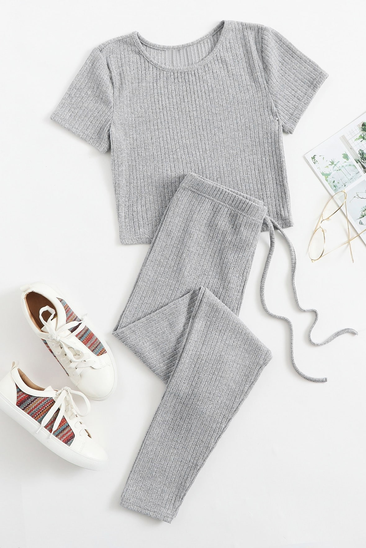 Set of two:- Solid rib knit tee & tie waist trouser grey