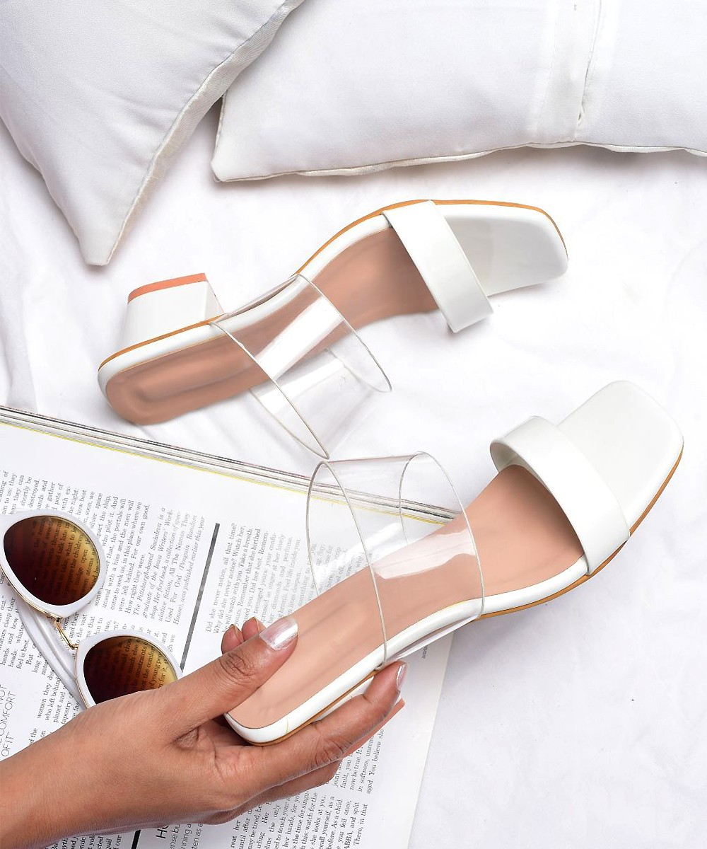 Delight to Walk Block Heels White