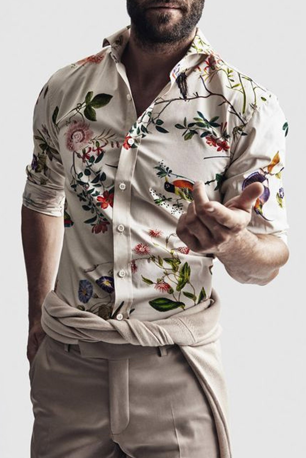 Floral Print Fitted Shirt