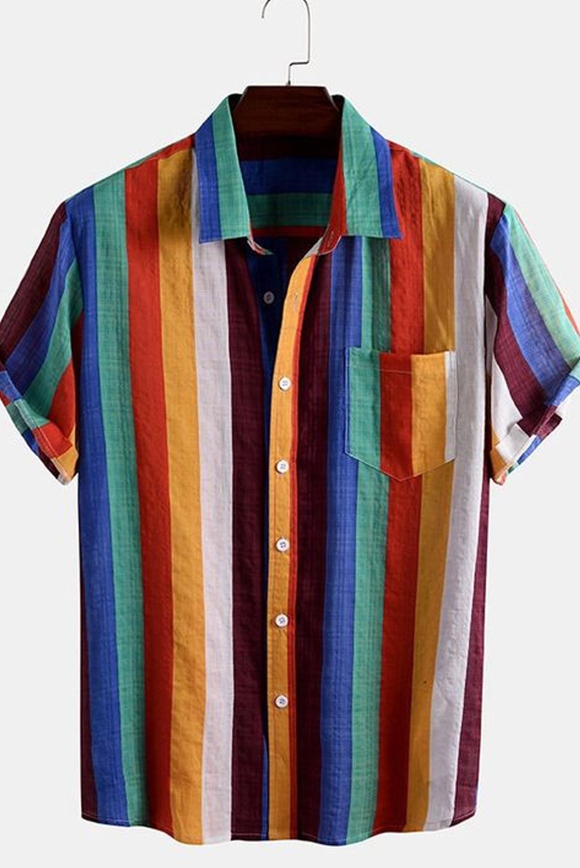 Men Colorful Striped Shirt