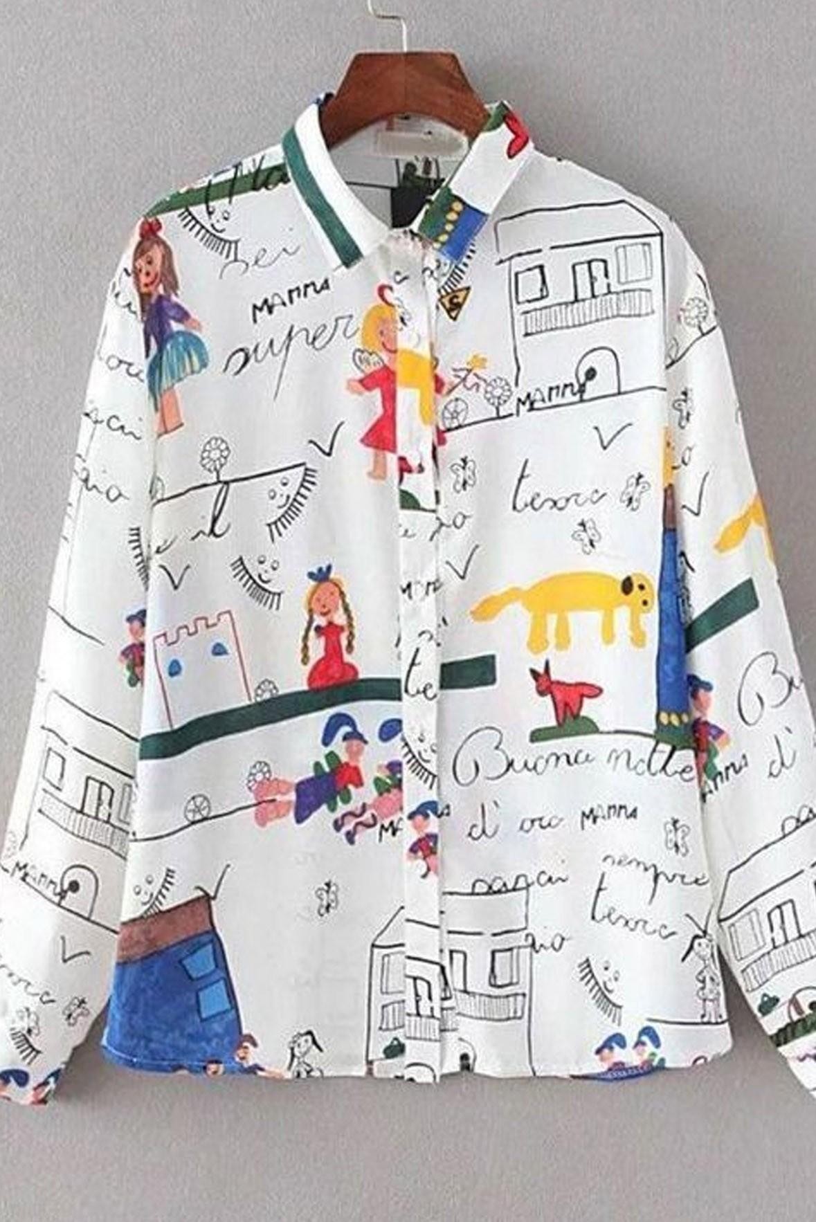Cute cartoon print men shirt