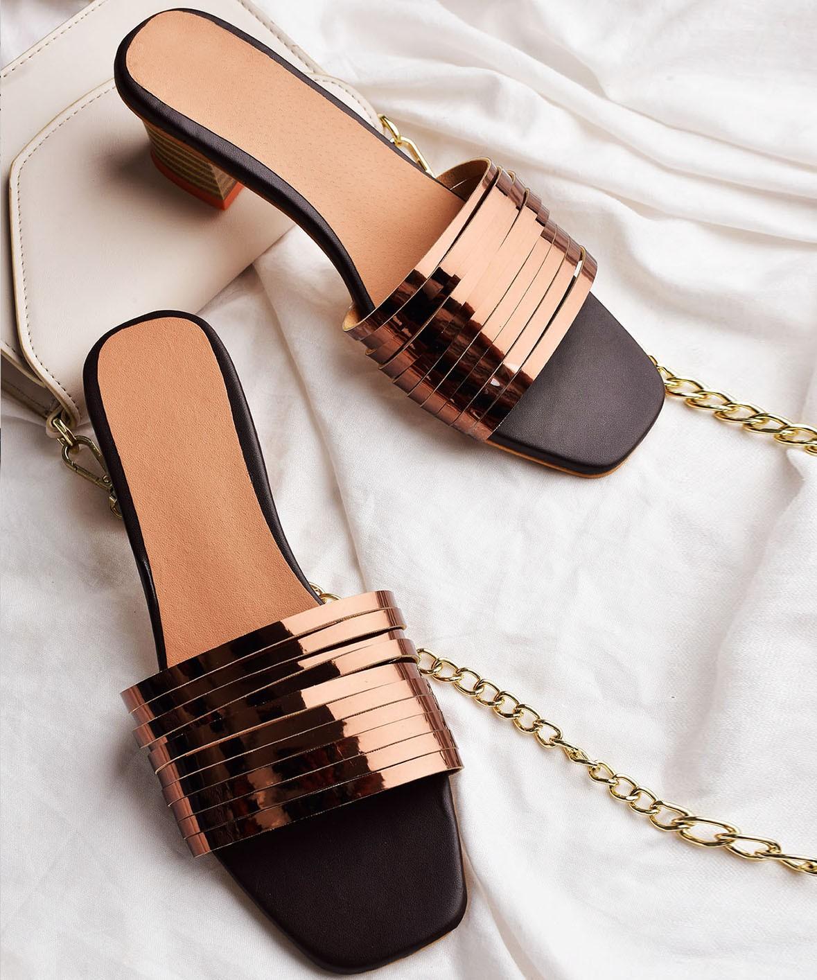 Hey good looking copper block heels