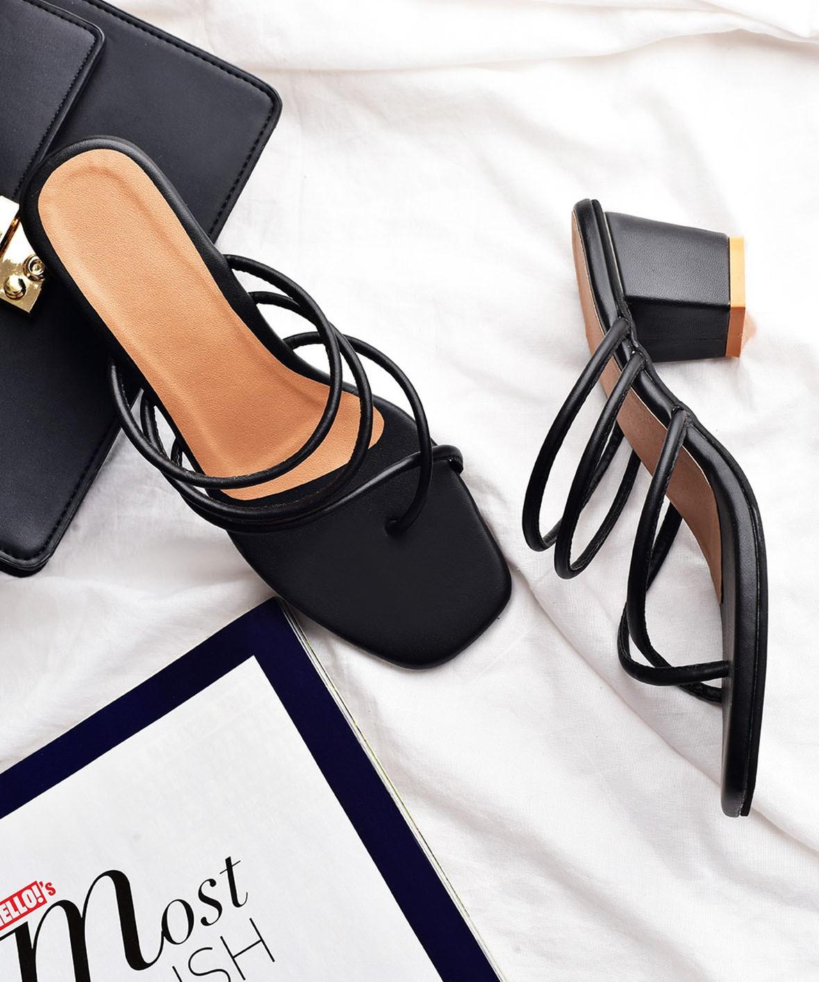 Girl on the go fashion black heels