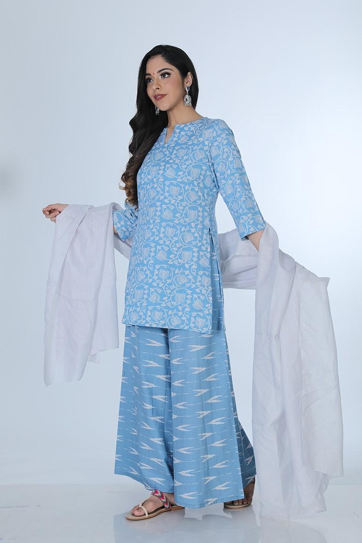 set of two- blue subtle pint kurta & pants