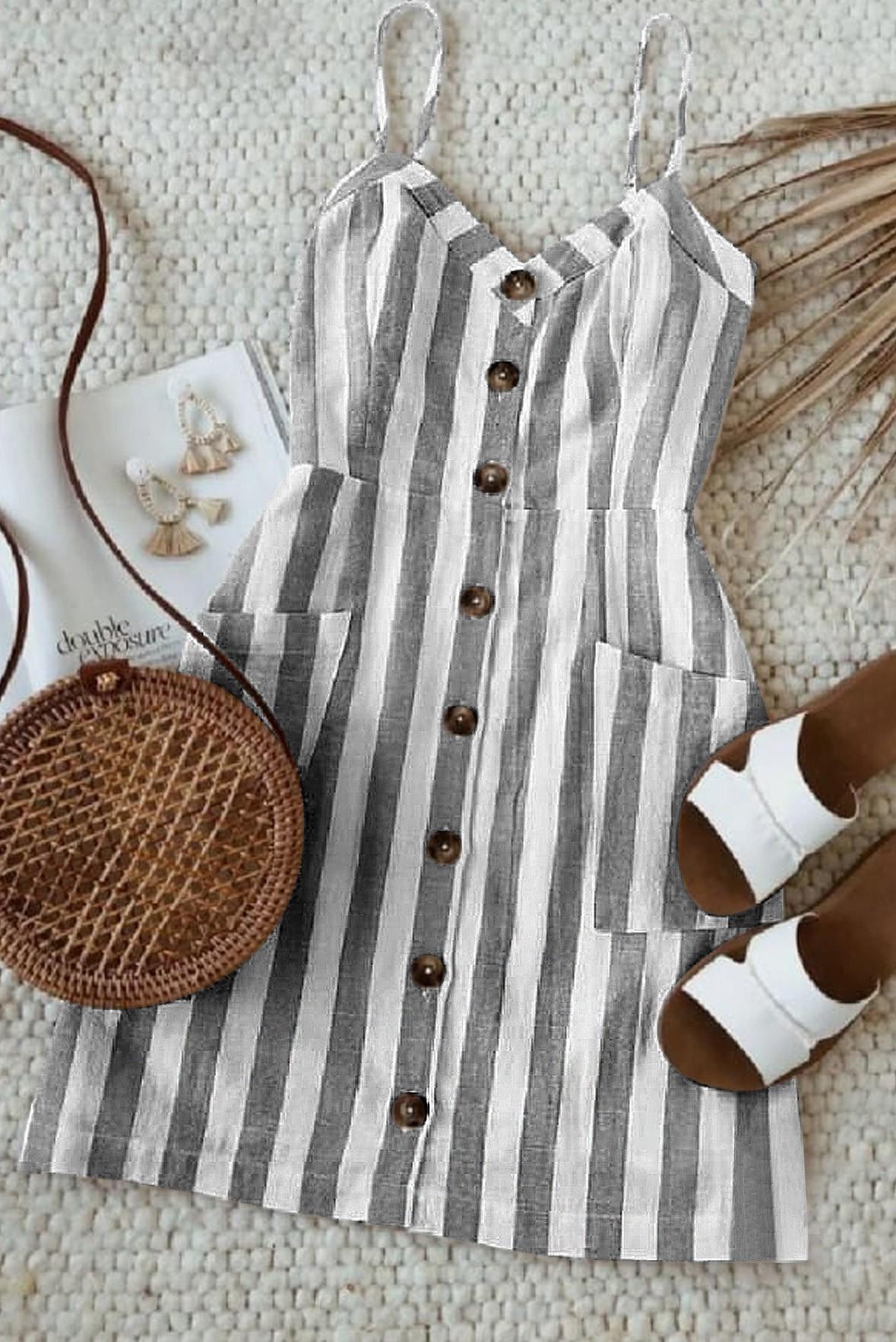 Sleeveless Striped Skater Dress