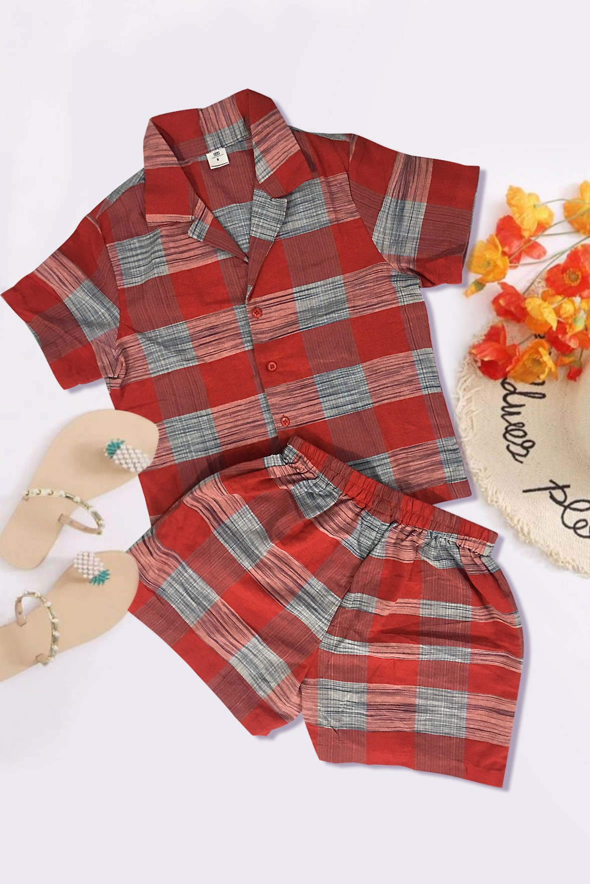 Set of 2- Check Shirt with Shorts Red