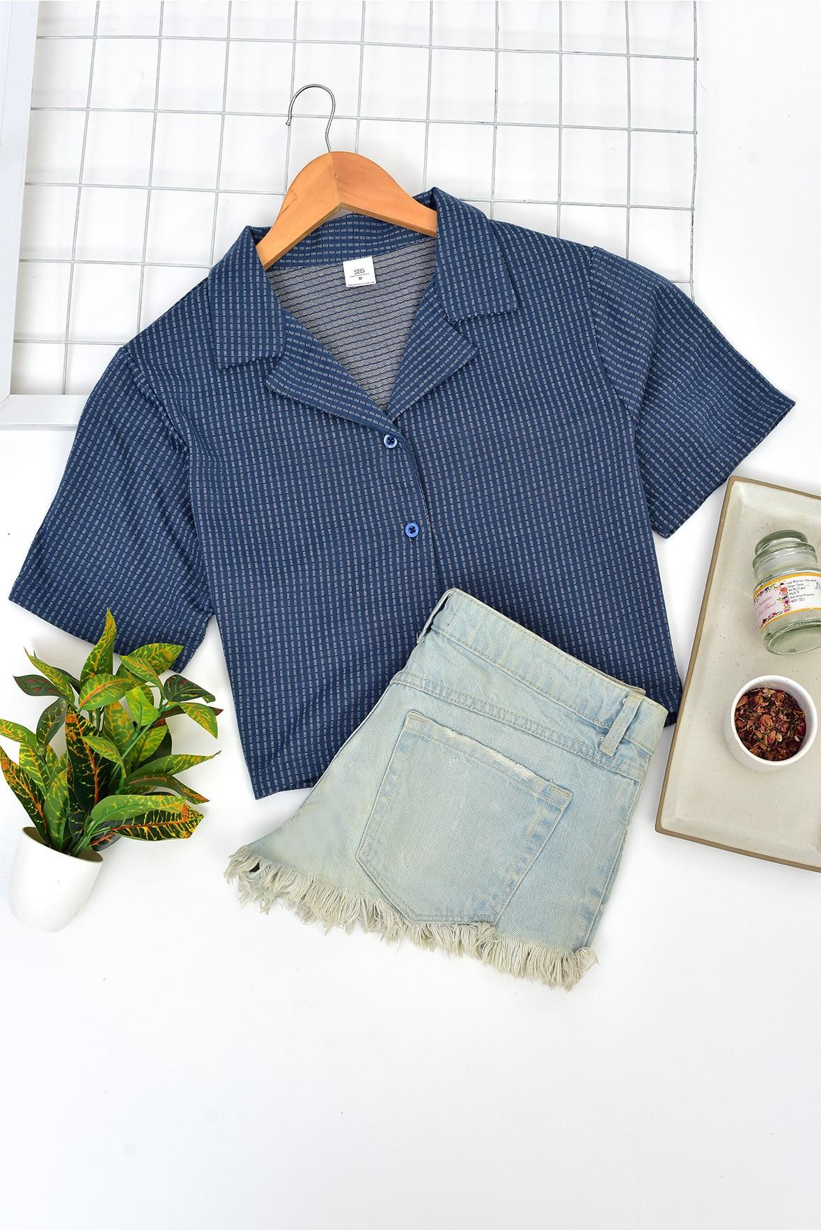 Plaid Shirt Style Crop Top