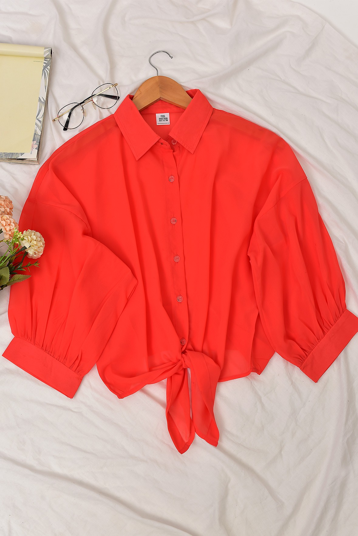 Front Tie Balloon Style Shirt Top Peach