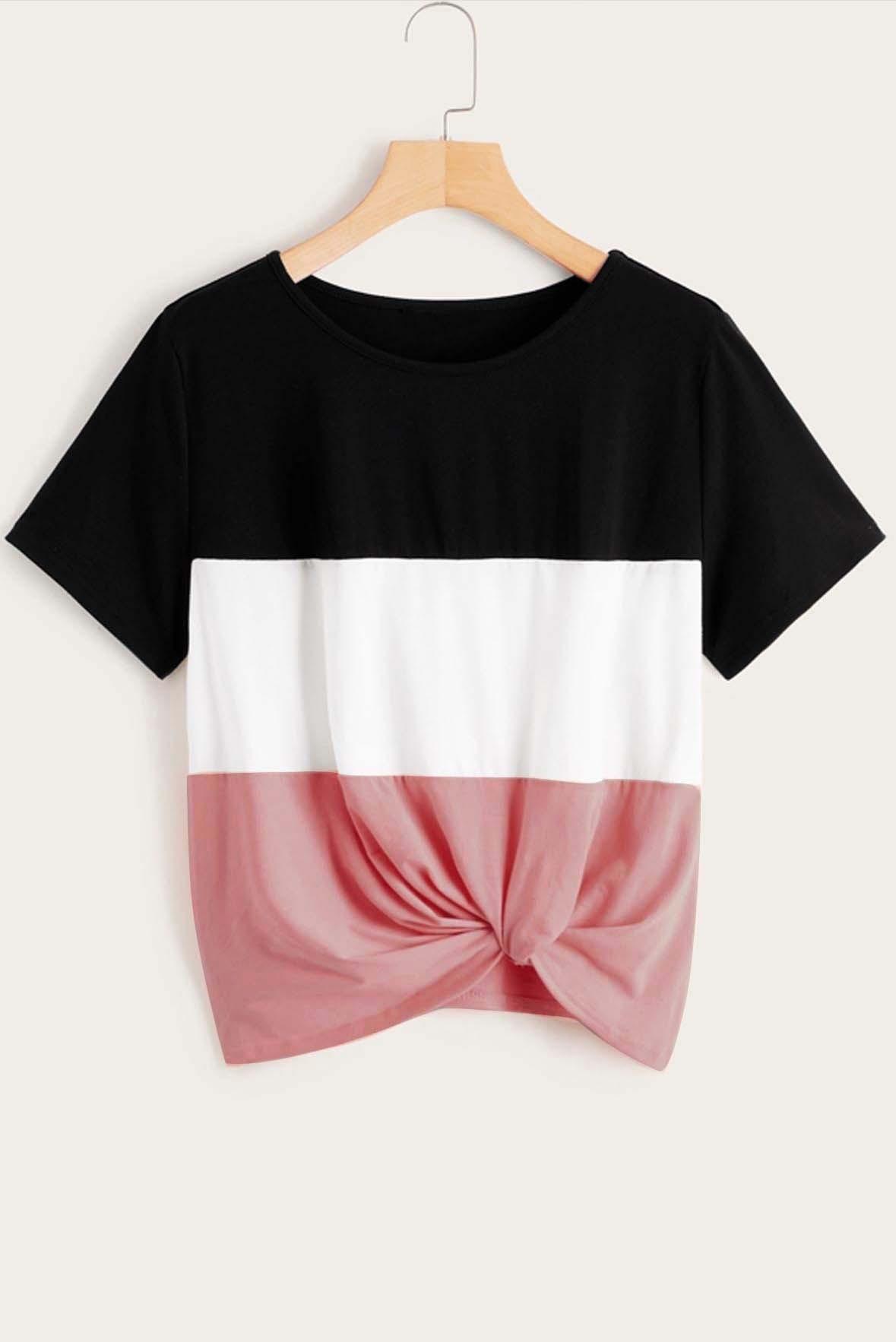 Colorblock Twist Hem Top Pink