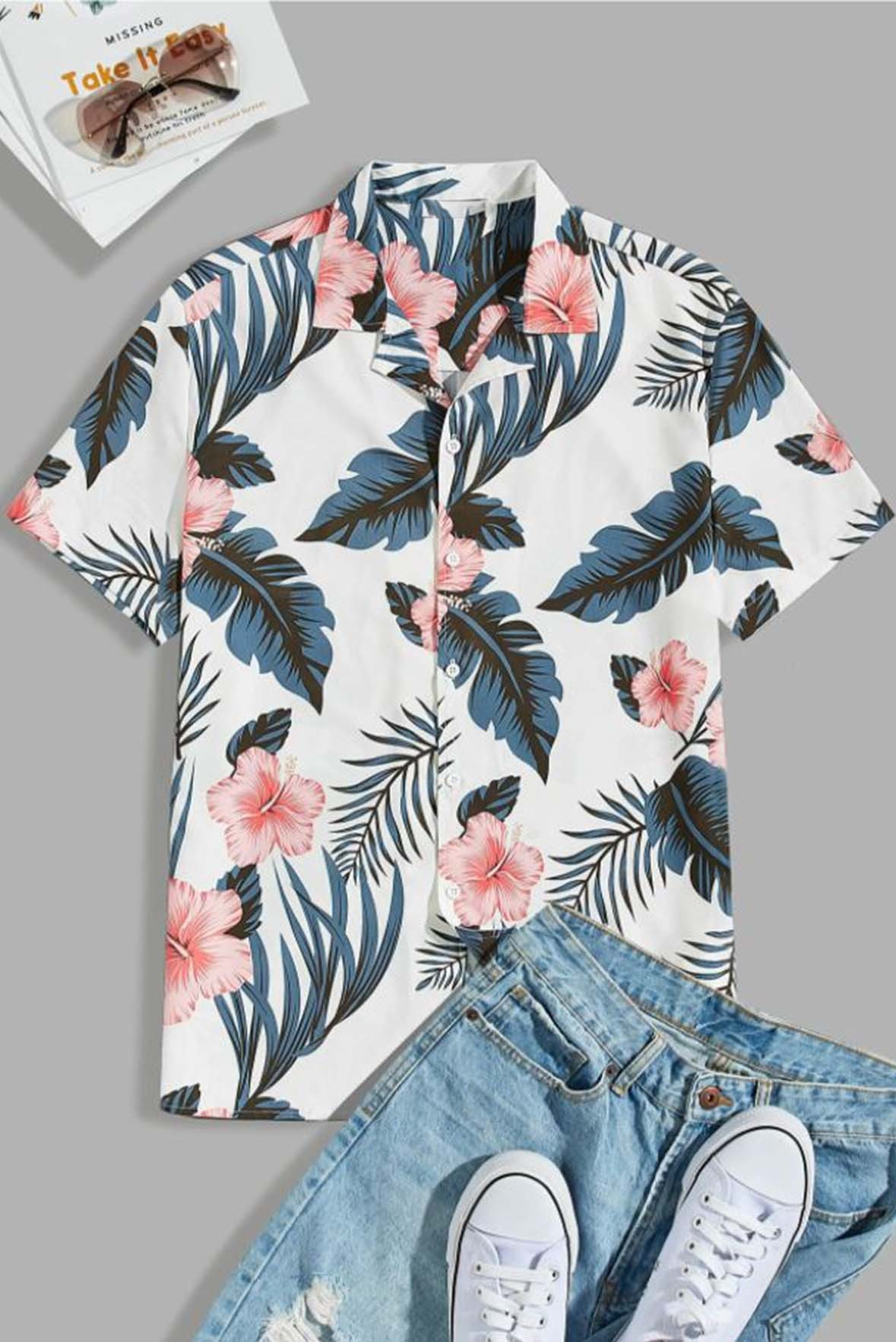 Leaf flower print shirt