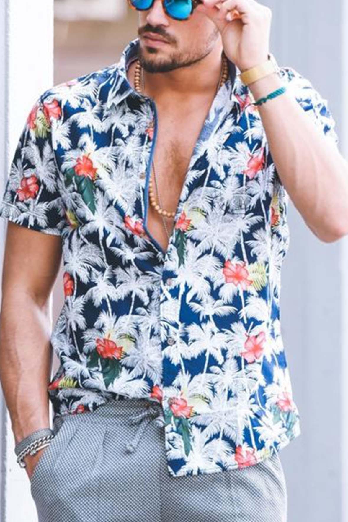 White flower print men shirt