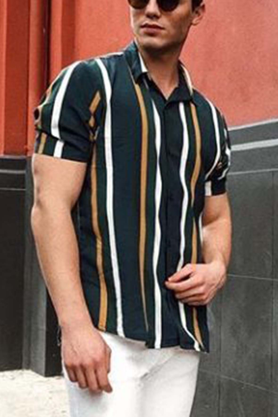 Yellow and white striped men shirt
