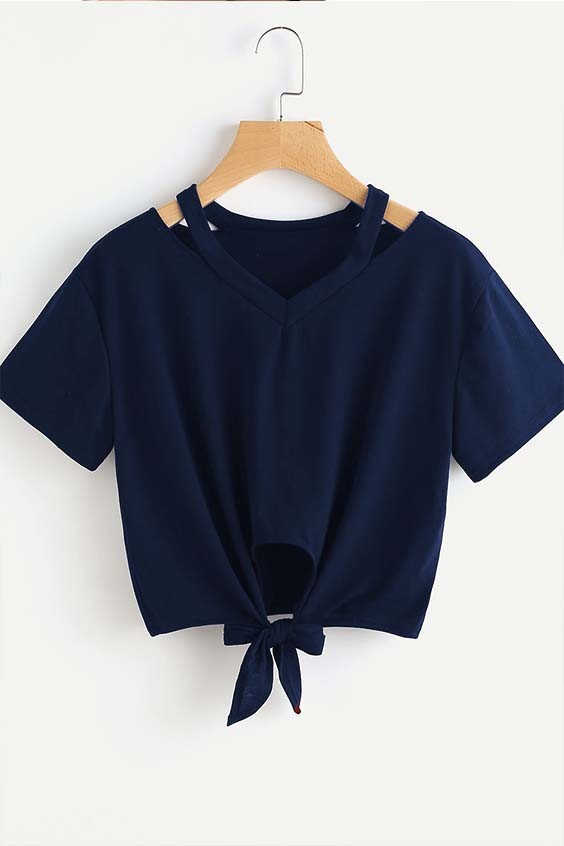 Cut Out V Neckline Knot Front Tee Navy Blue