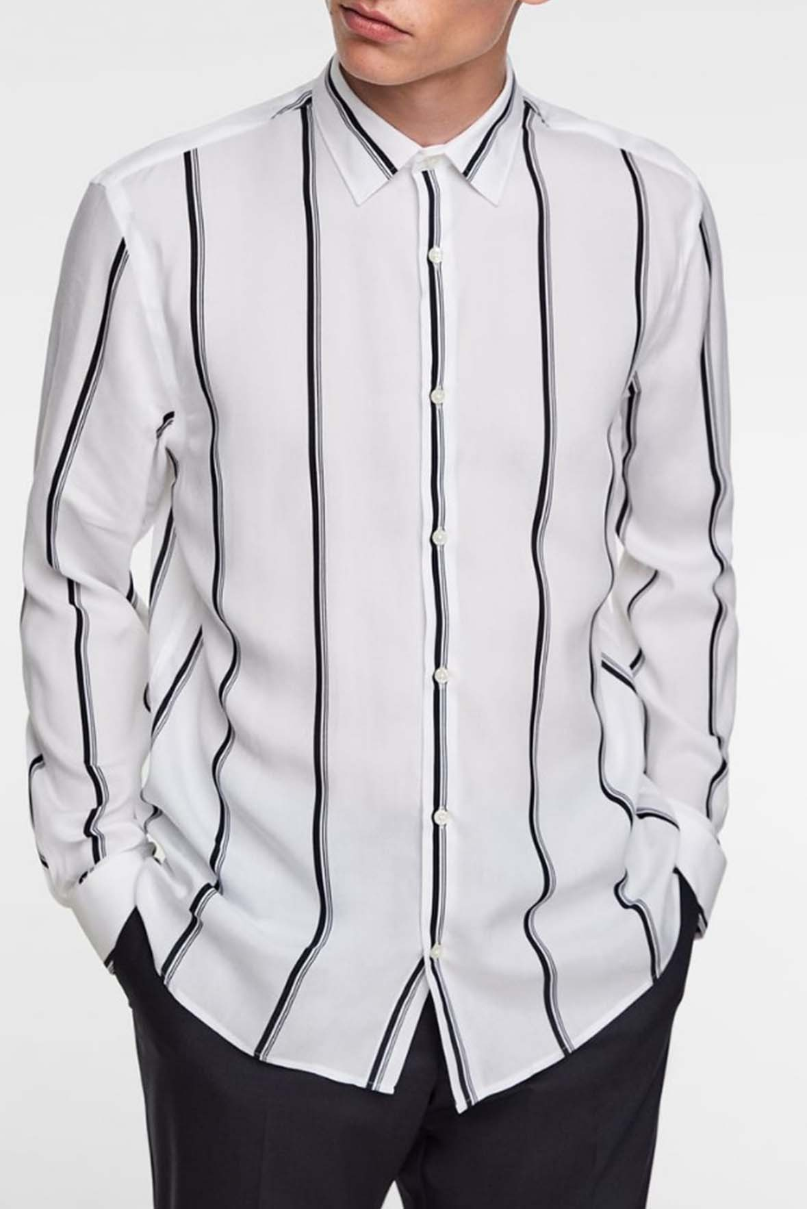 Striped Mens Shirt Black & White