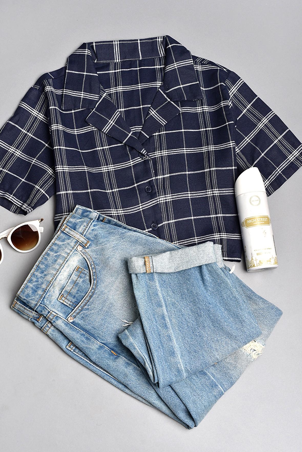 Plaid Crop shirt