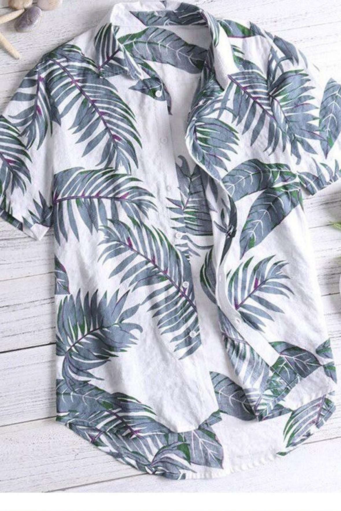 Cool leaf print men shirt