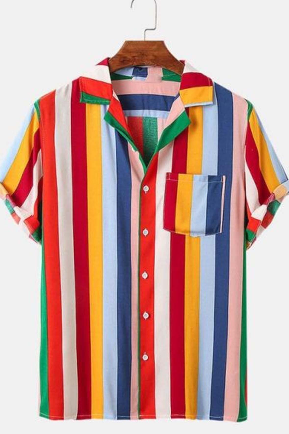 Rainbow Stripe multicolor men shirt