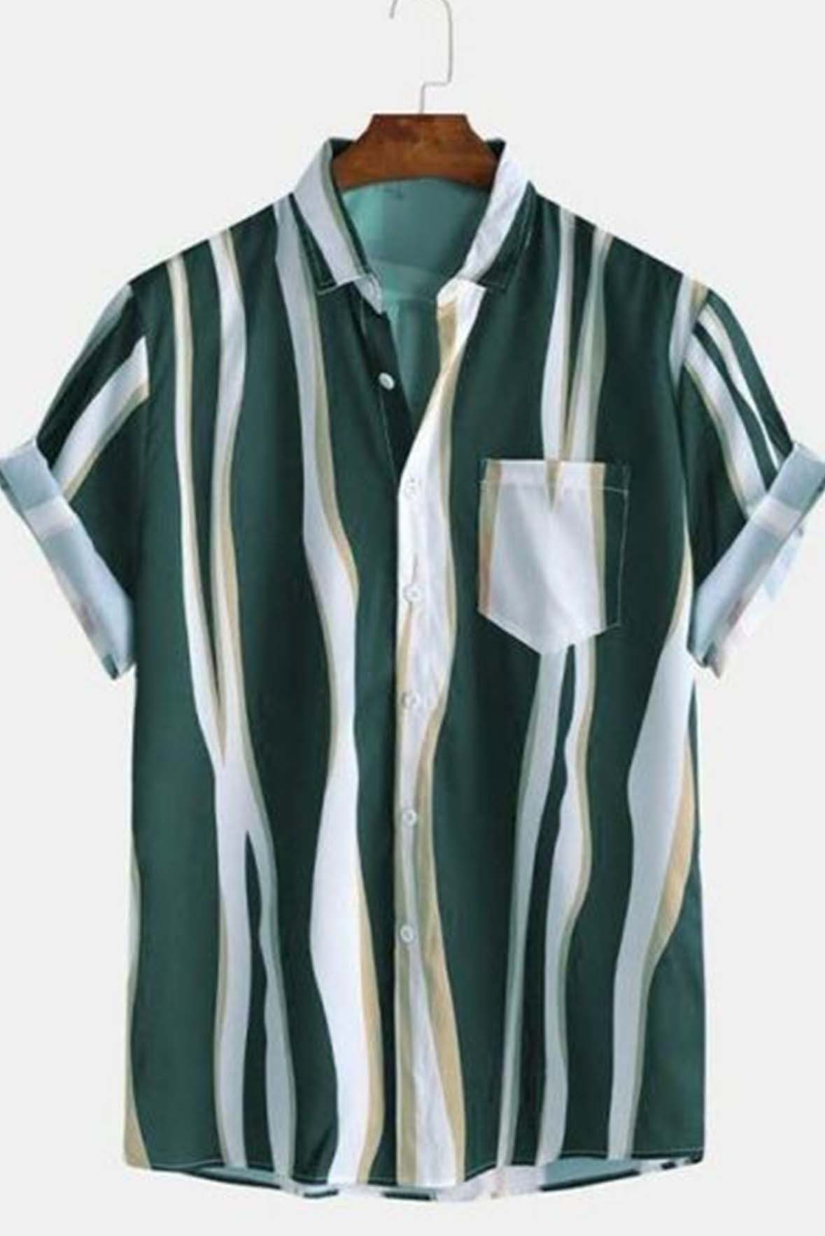 White with green striped men shirt