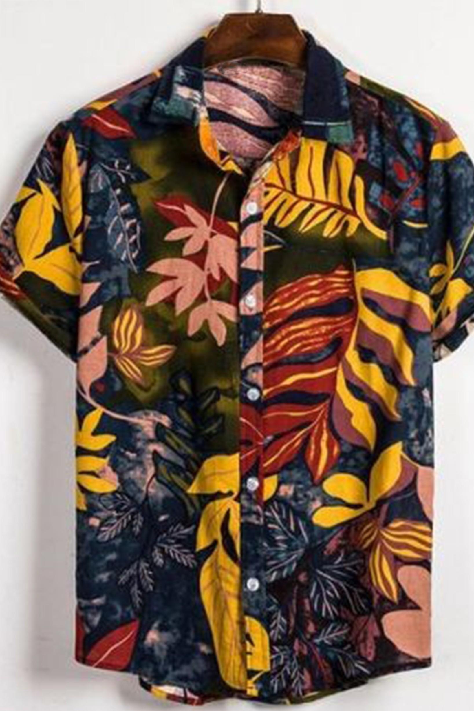 Multi leaf print men shirt
