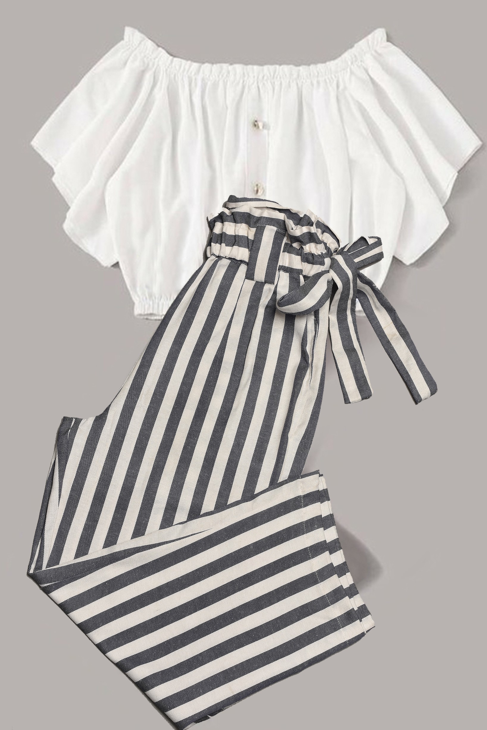 Set of 2- White Top With Grey Striped Trouser