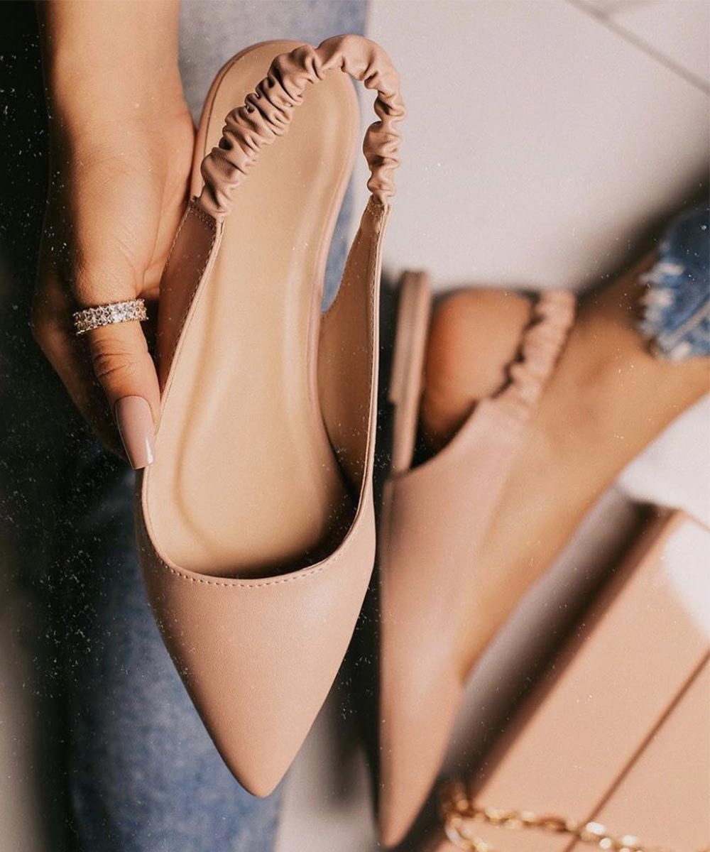 Blush tone nude mules Flat