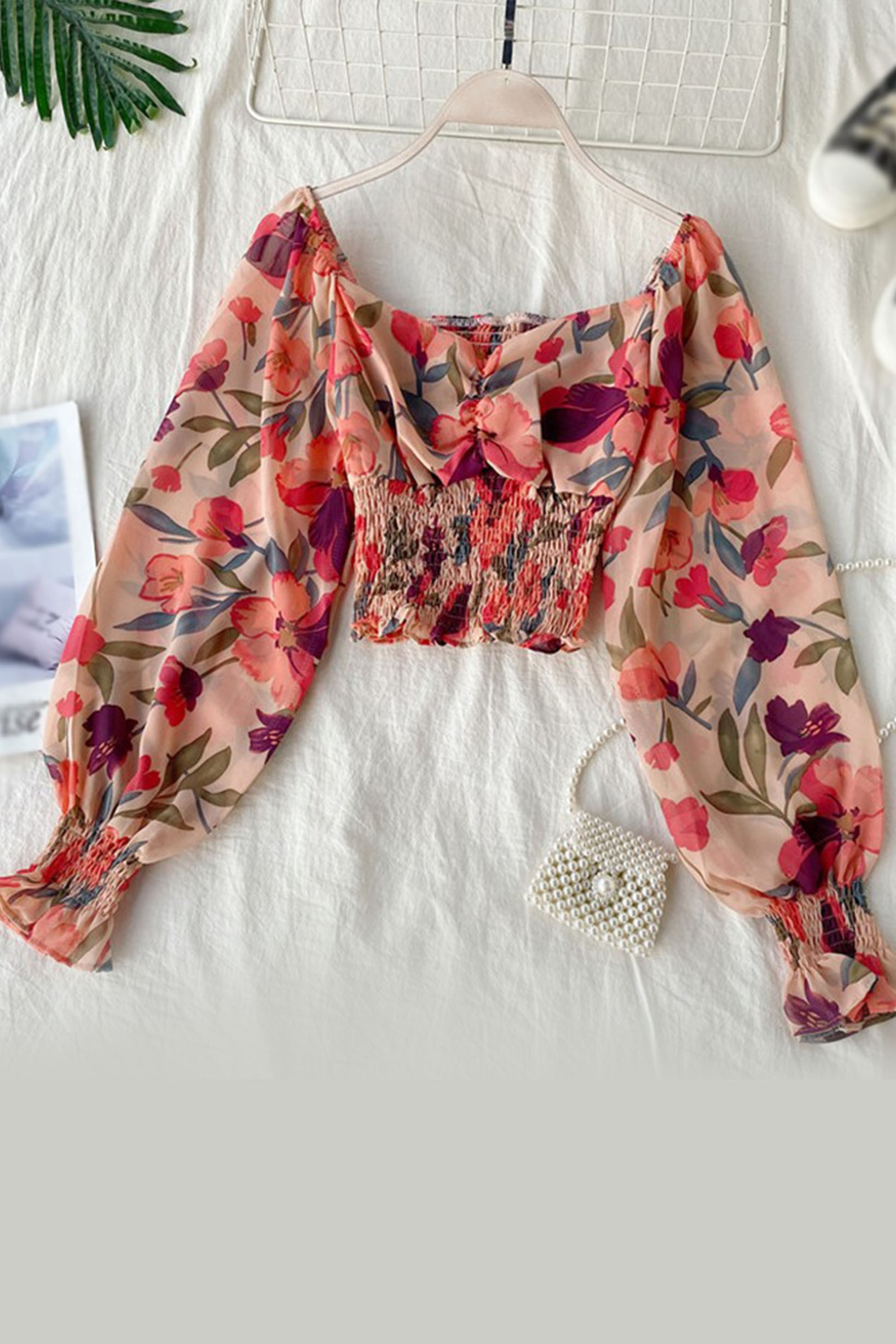 Ruched Front Shirred Blouse