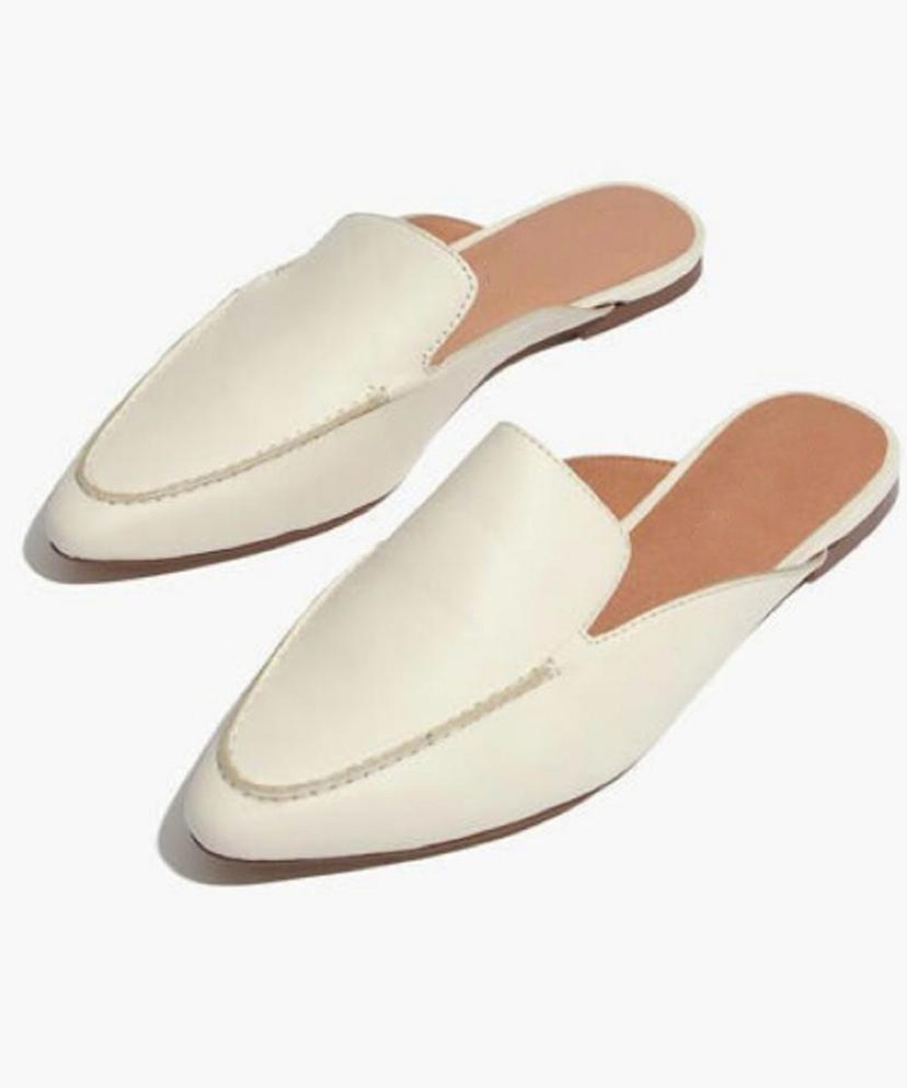 Crazy for you white mules White Flats