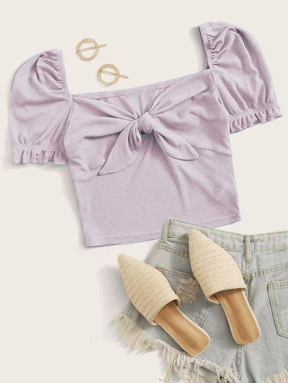 Lavender Rib Jersey Top