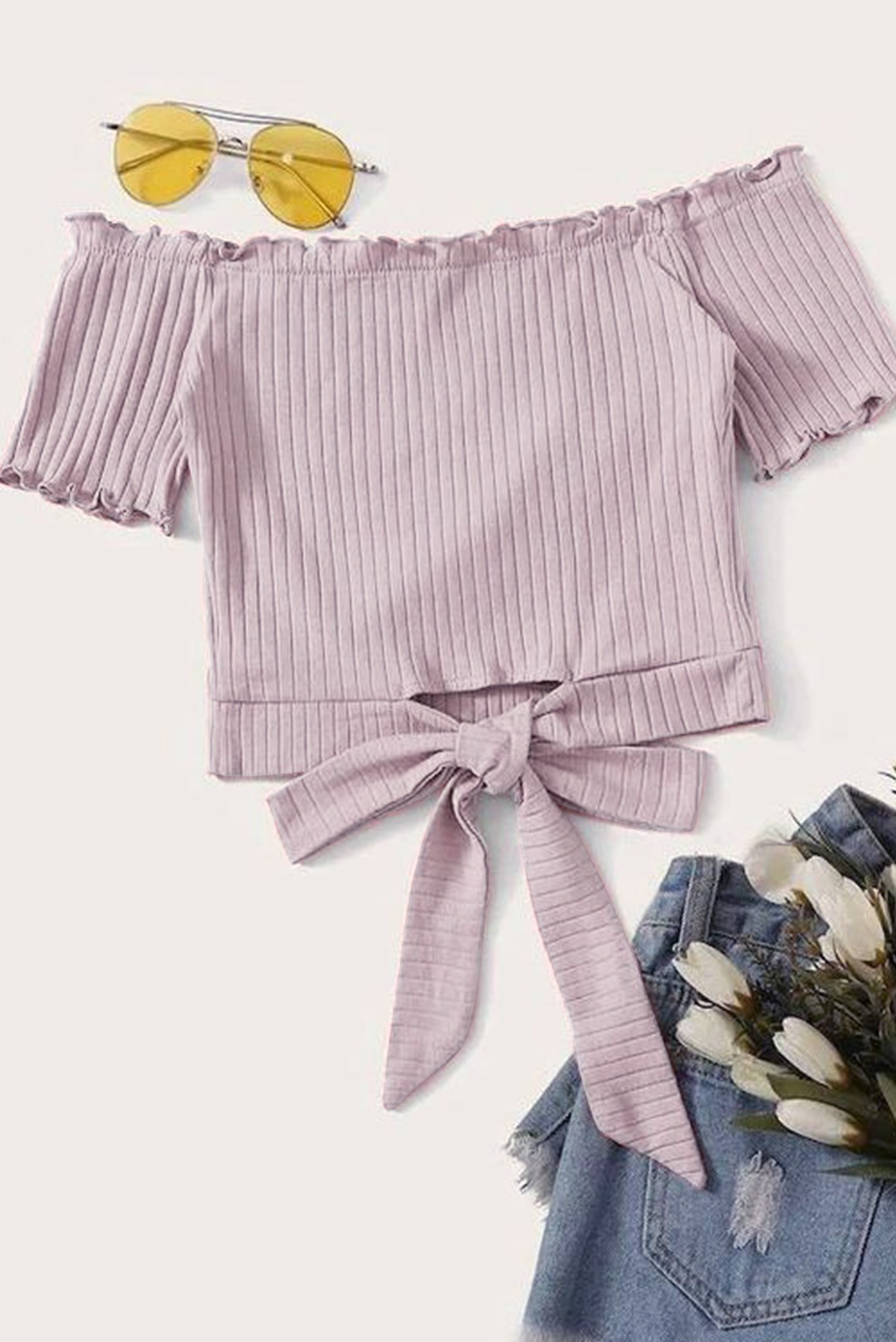 Lavender Rib Jersey Front Bow Top