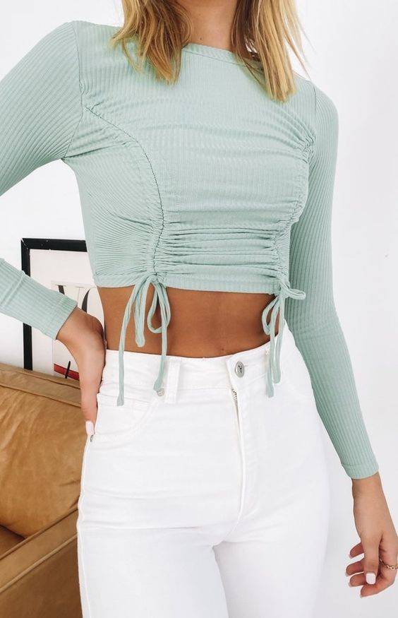 In love with Blue Rib Top