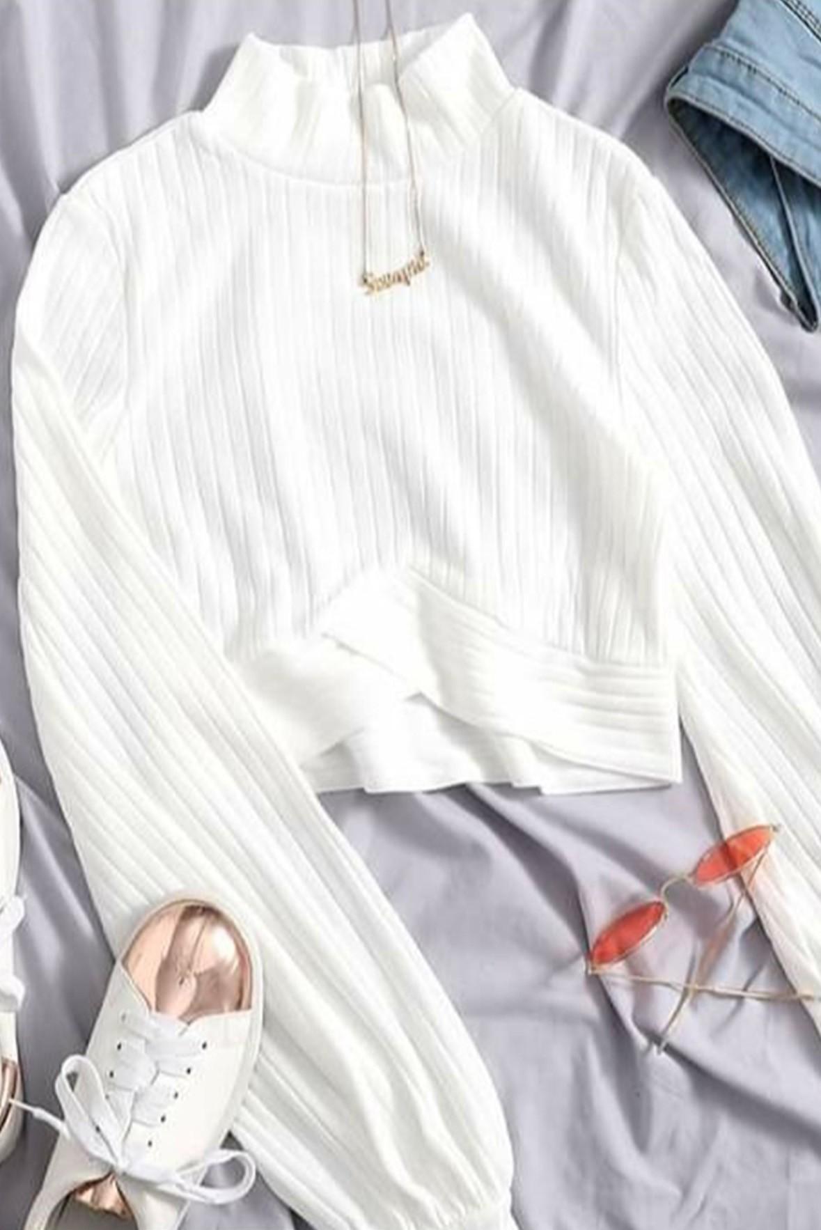High Neck Bishop Sleeve Blouse