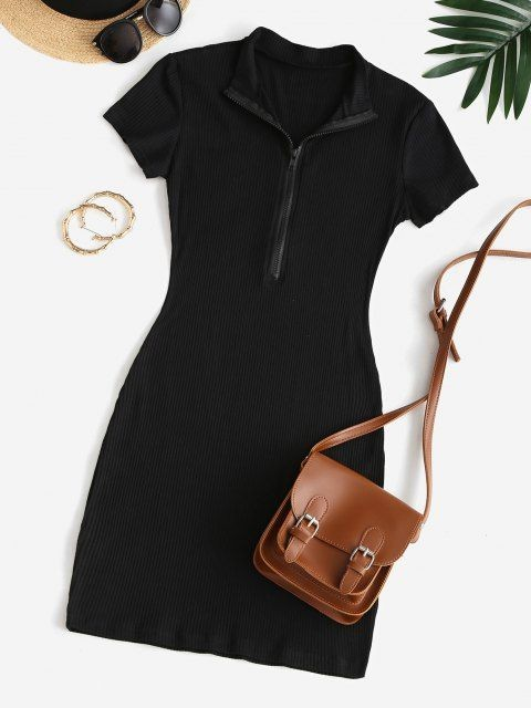 Pretty Black Ribbed Dress