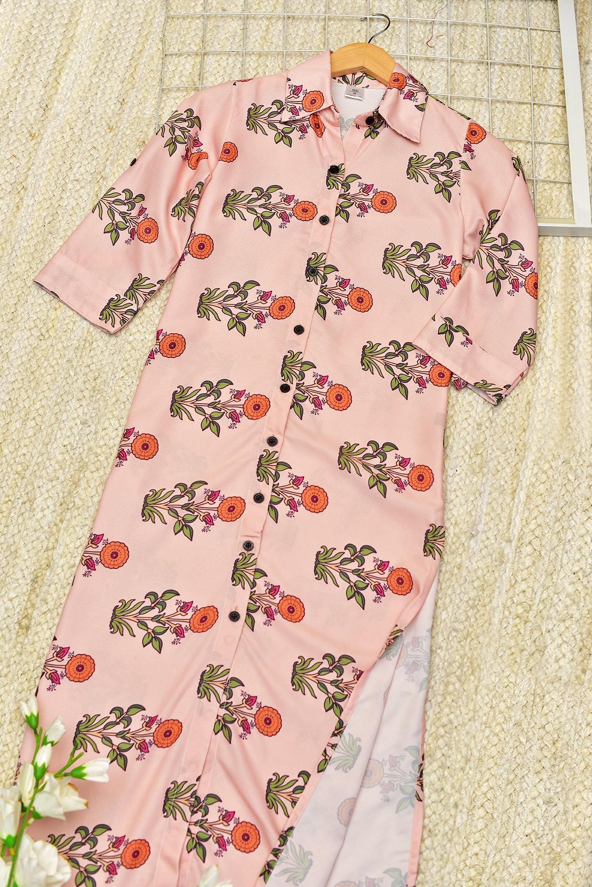 Peach floral tunic