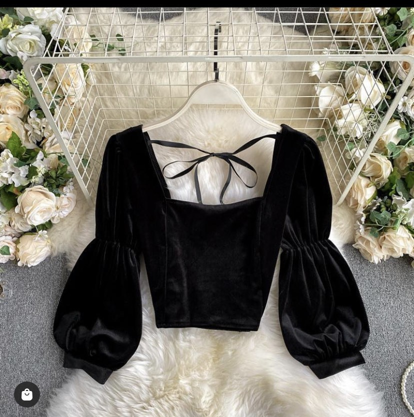 Black Velvet Party Top