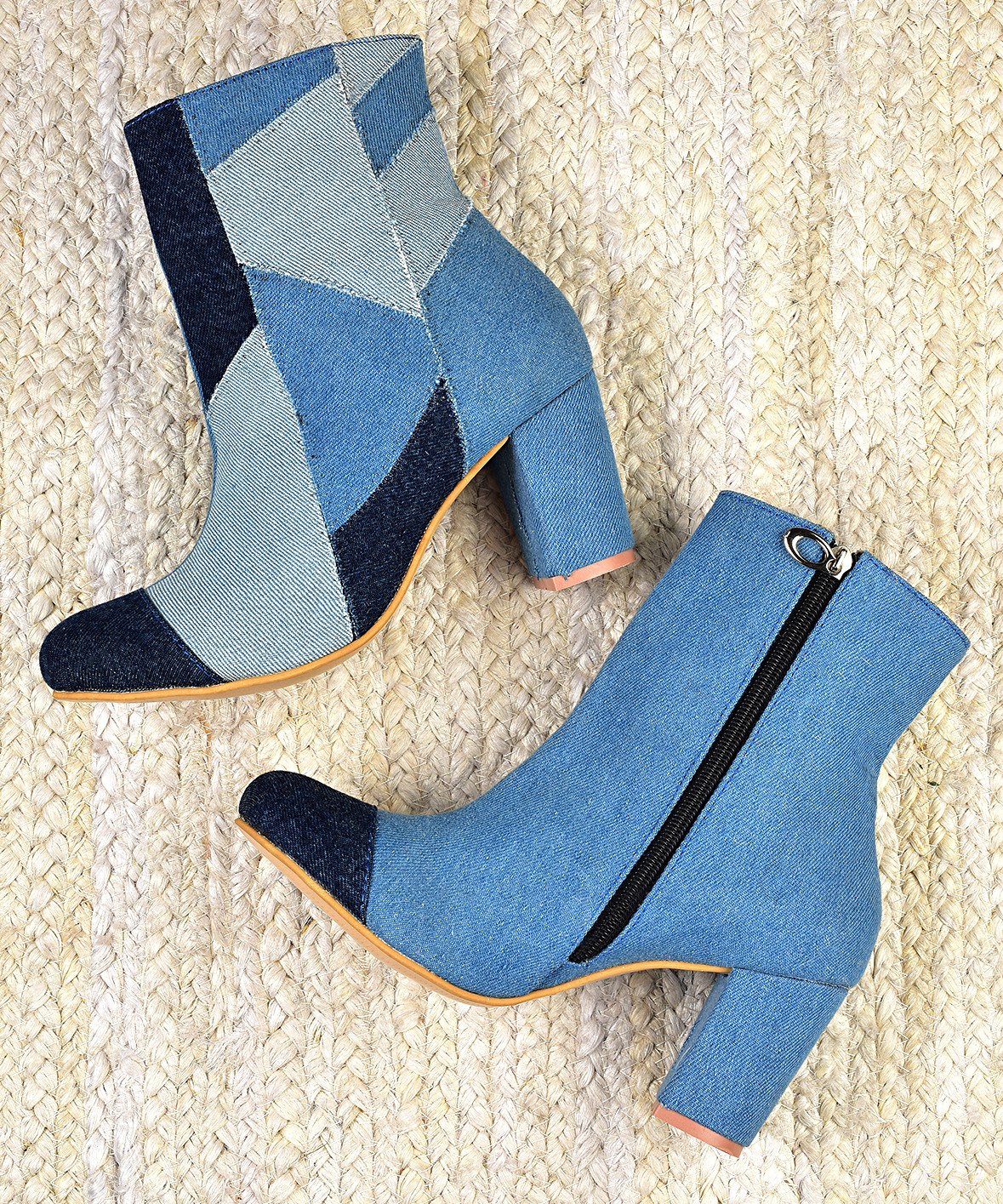 Double tone denim brushed boots