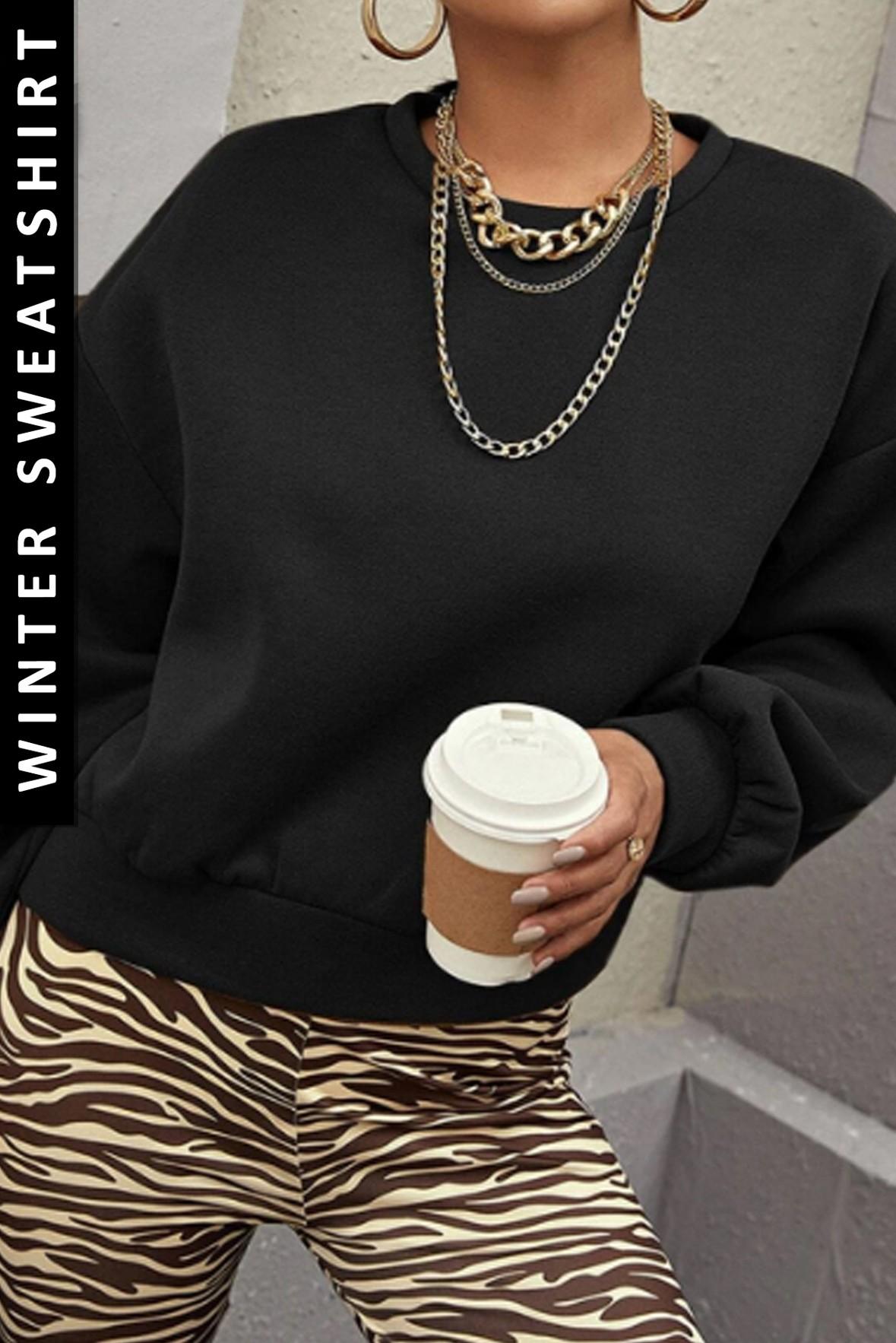 Drop Shoulder Solid Winter fleece Sweatshirt