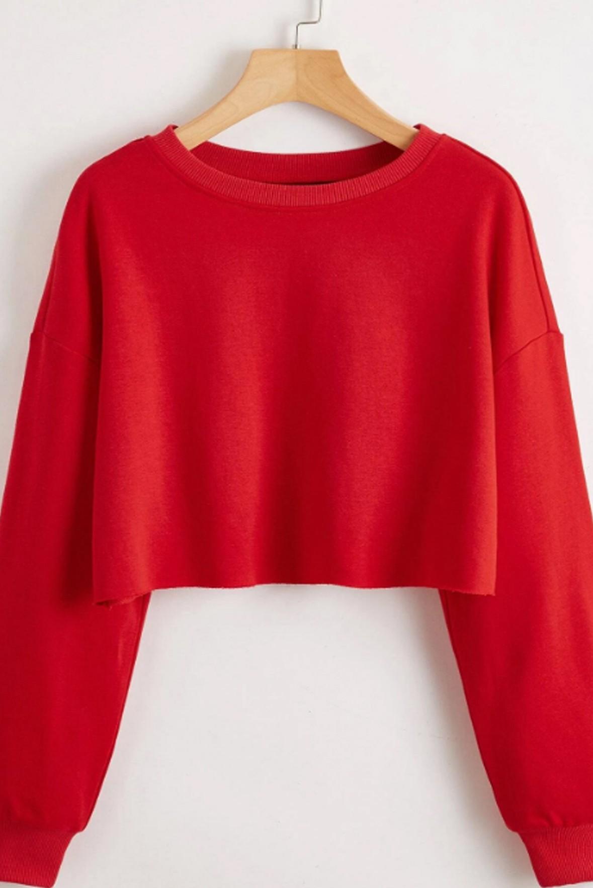 Red Drop Shoulder Crop Sweatshirt