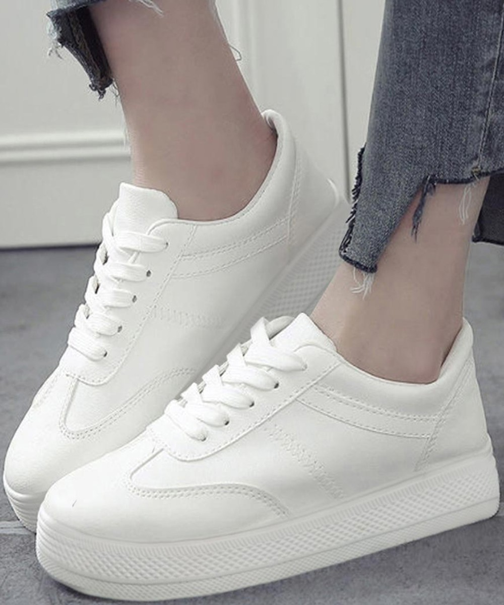 Classic white chunky sole sneakers