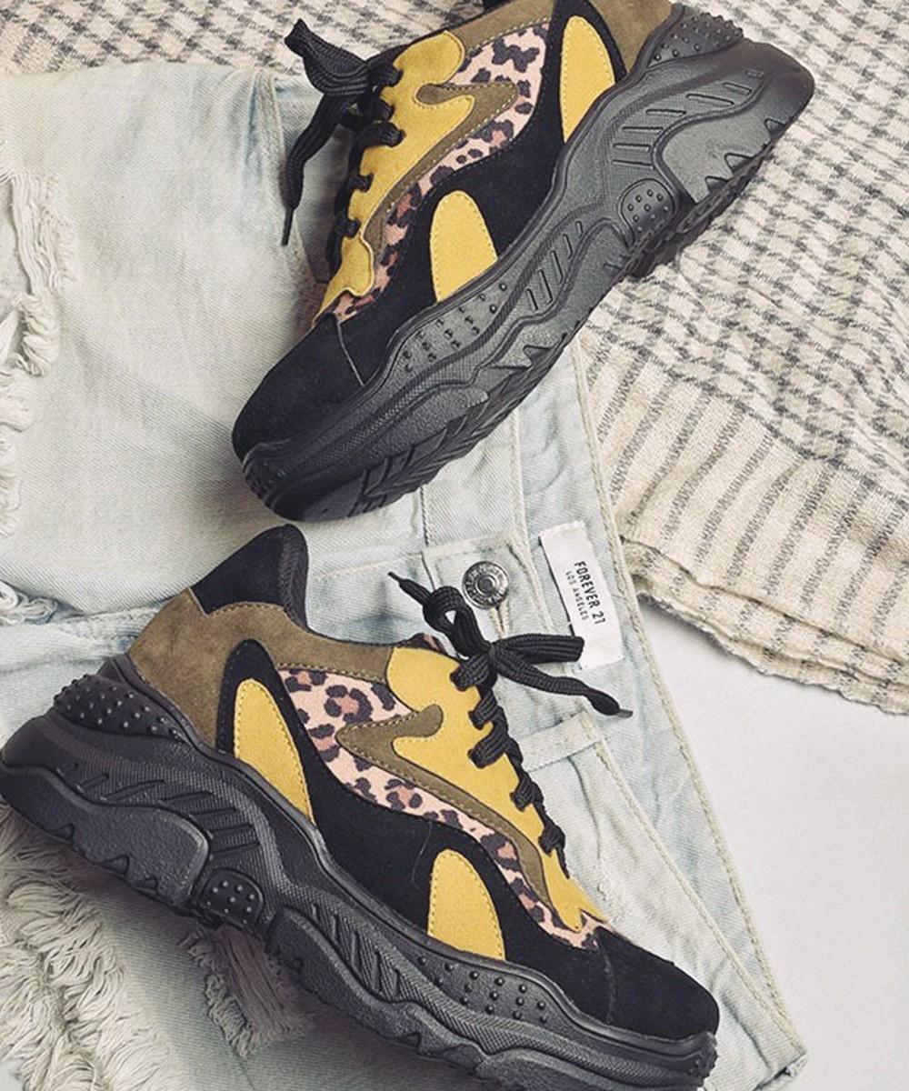 Classic Leopard Chunky Yellow & Black Sneaker